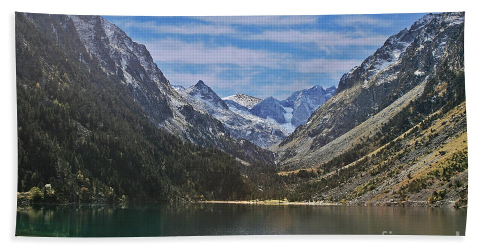 Puzzle Bath Sheet featuring the photograph Tranquil Mountain Lake by Moshe Torgovitsky