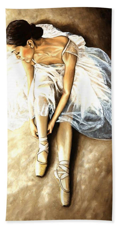 Ballet Hand Towel featuring the painting Tranquil Preparation by Richard Young