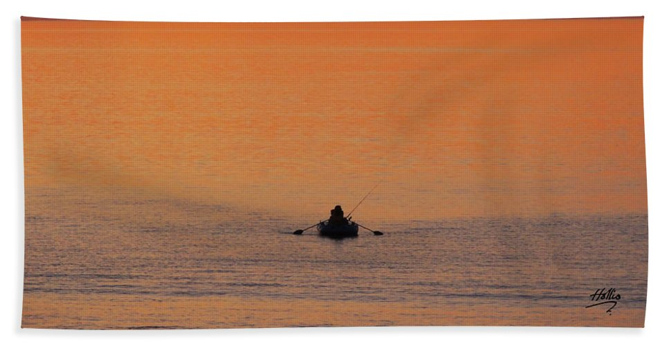 Sunset Red Sky Orange Silver Blue Sea Ocean Fishing Row Boat Peaceful Calm Tranquil Silhouette Serene Hand Towel featuring the photograph Tranquililty by Linda Hollis