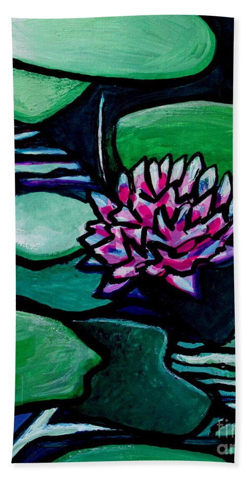 Lilly Pads Hand Towel featuring the painting Tranquility by Elizabeth Robinette Tyndall