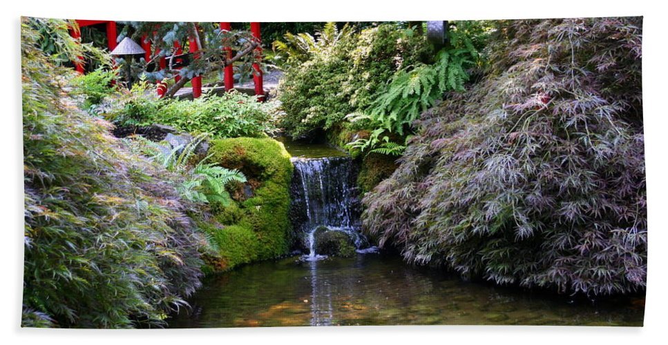 Japanese Garden Bath Sheet featuring the photograph Tranquility In A Japanese Garden by Laurel Talabere