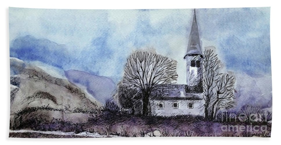House Hand Towel featuring the painting Tranquility by Jasna Dragun