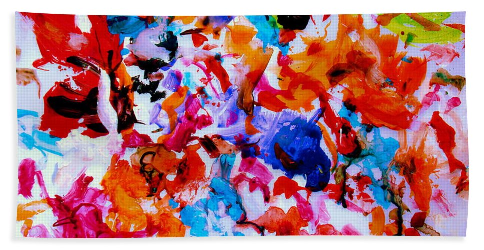 Abstract Bath Towel featuring the painting Tranquility by Natalie Holland
