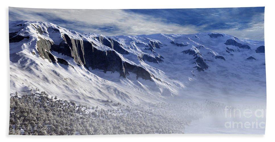 Mountains Bath Towel featuring the digital art Tranquility by Richard Rizzo