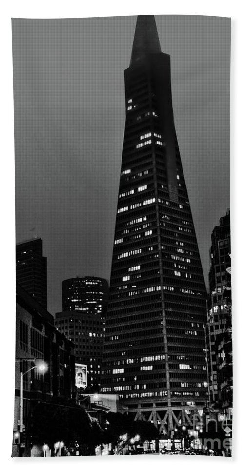 Trans American Building Hand Towel featuring the photograph Trans American Building At Night by Tommy Anderson