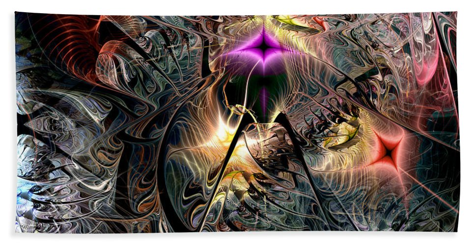 Abstract Bath Sheet featuring the digital art Transcendence In Retrograde by Casey Kotas