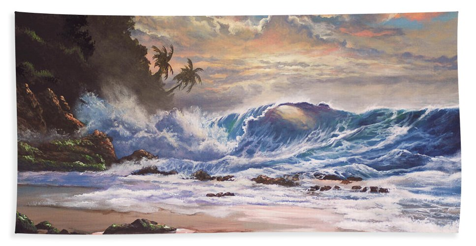 Tropical Hand Towel featuring the painting Transcending Beauty by Marco Antonio Aguilar