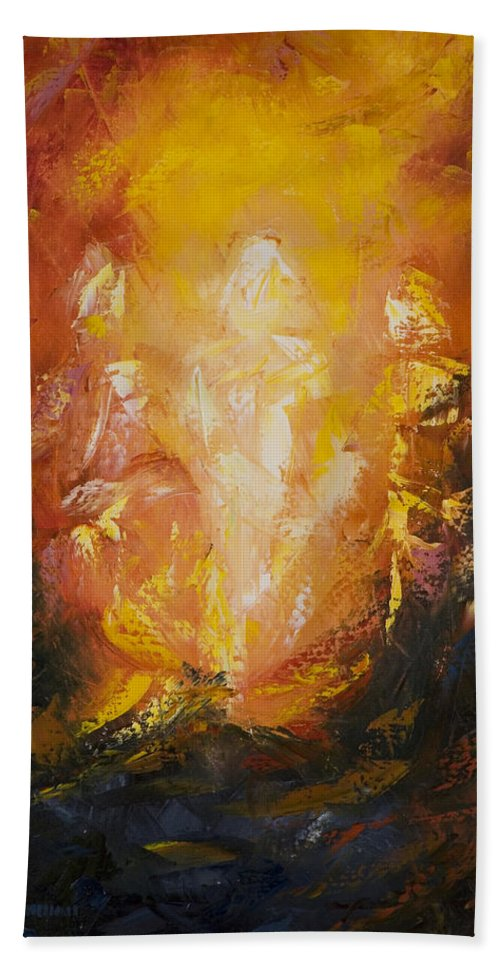 Abstract Hand Towel featuring the painting Transfiguration by Lewis Bowman