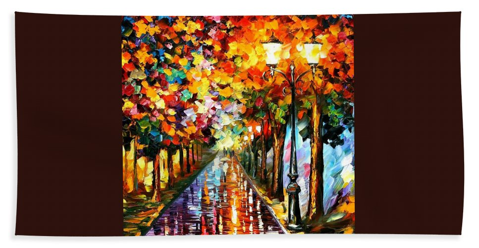 Afremov Hand Towel featuring the painting Transformation Of The Night by Leonid Afremov