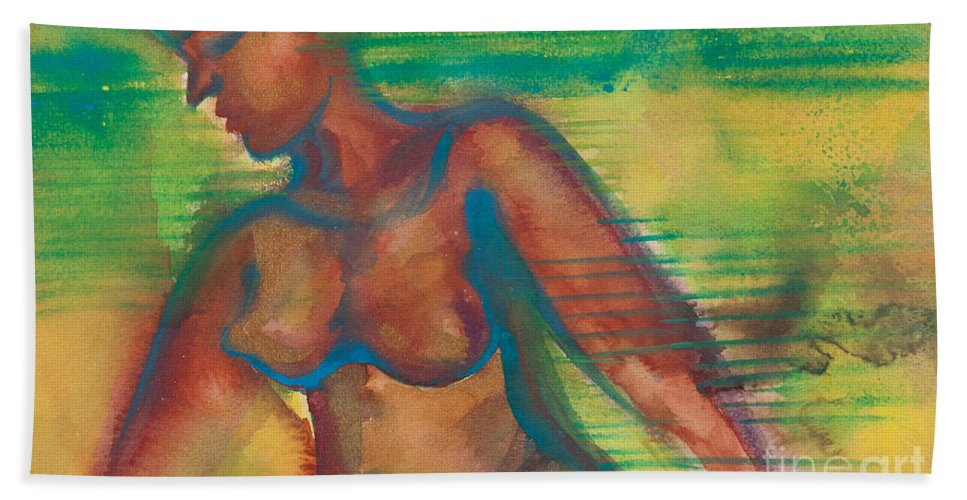 Female Bath Sheet featuring the painting Transitions by Ilisa Millermoon