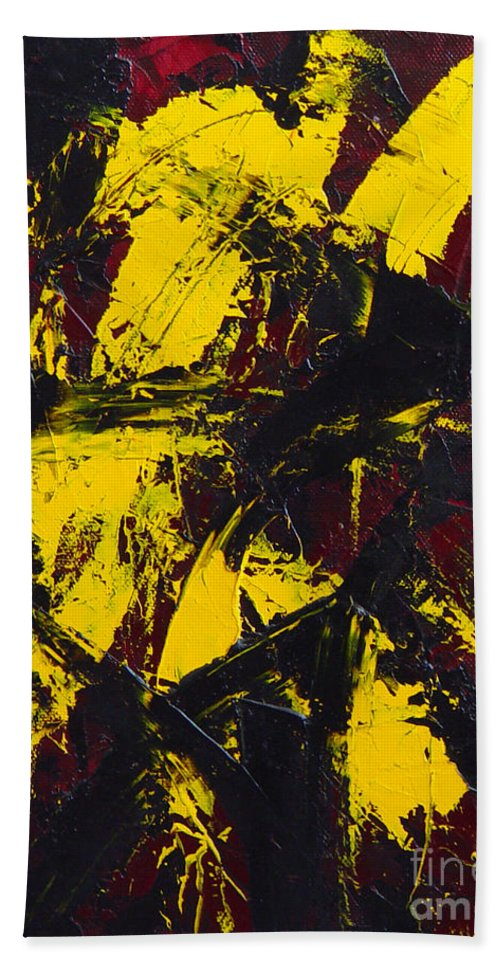Abstract Hand Towel featuring the painting Transitions With Yelllow And Black by Dean Triolo