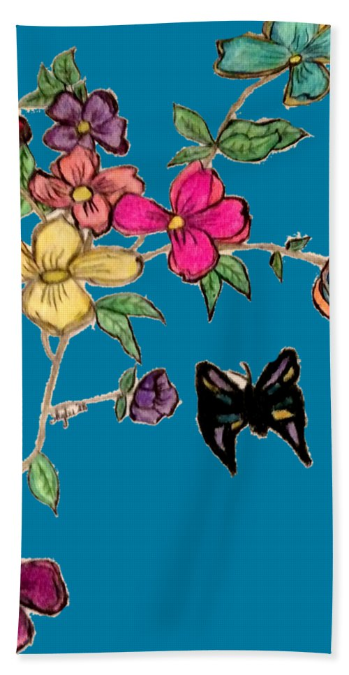 Transparent Background Hand Towel featuring the mixed media Transparent Flowers And Butterflies In Color by Shylee Charlton
