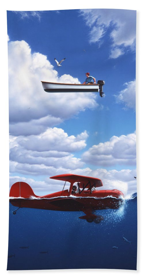 Boat Hand Towel featuring the painting Transportation by Jerry LoFaro