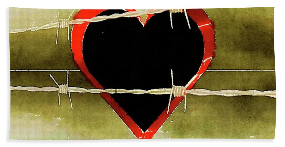 Heart Hand Towel featuring the painting Trapped Heart by Pierre Blanchard