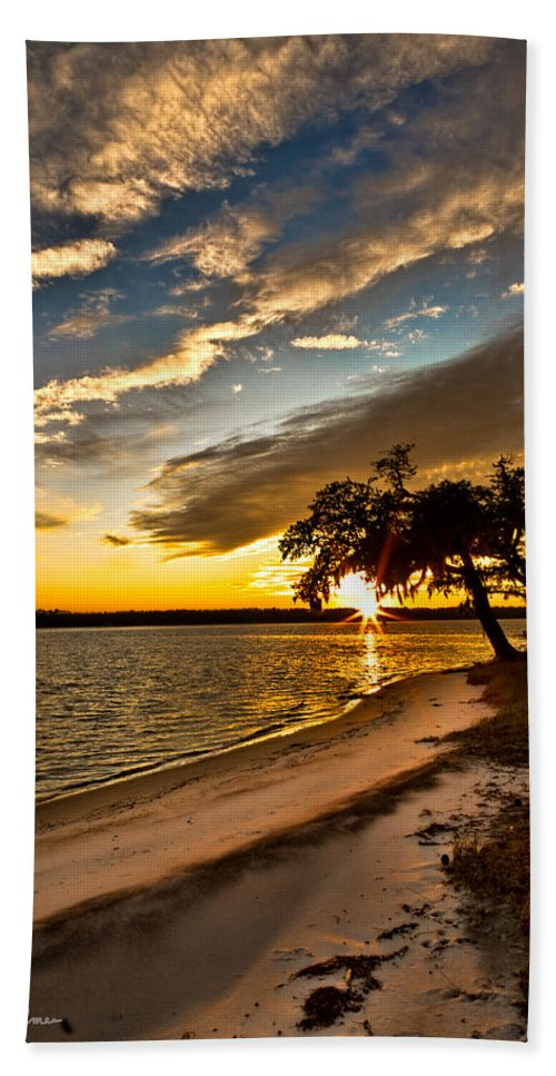 Sunset Hand Towel featuring the photograph Trapped Sunset by Christopher Holmes