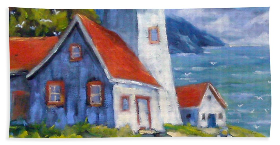 Art Hand Towel featuring the painting Traps And Lighthouse by Richard T Pranke