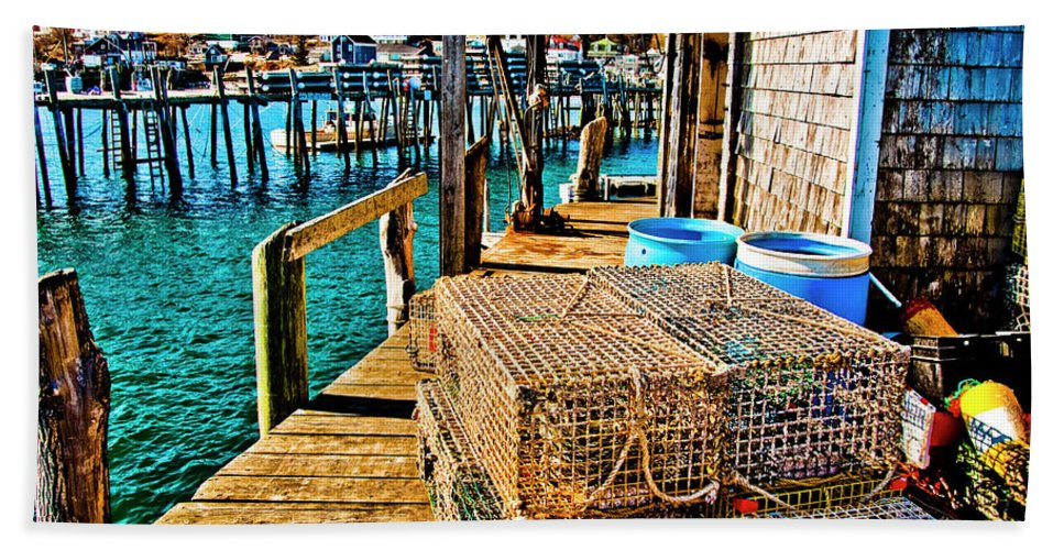 Stonington Maine Bath Sheet featuring the photograph Traps R Us by Jeff Cooper