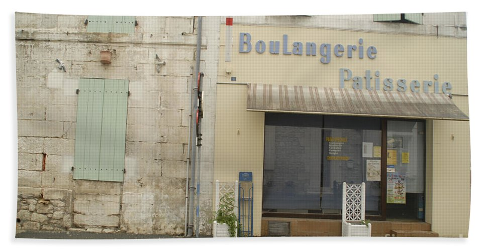 Boulangerie Patisserie France Near A Town Travel Photography Nearby Towns To La Rochelle And Chambon Hand Towel featuring the photograph Travel Photography by Jenny Potter