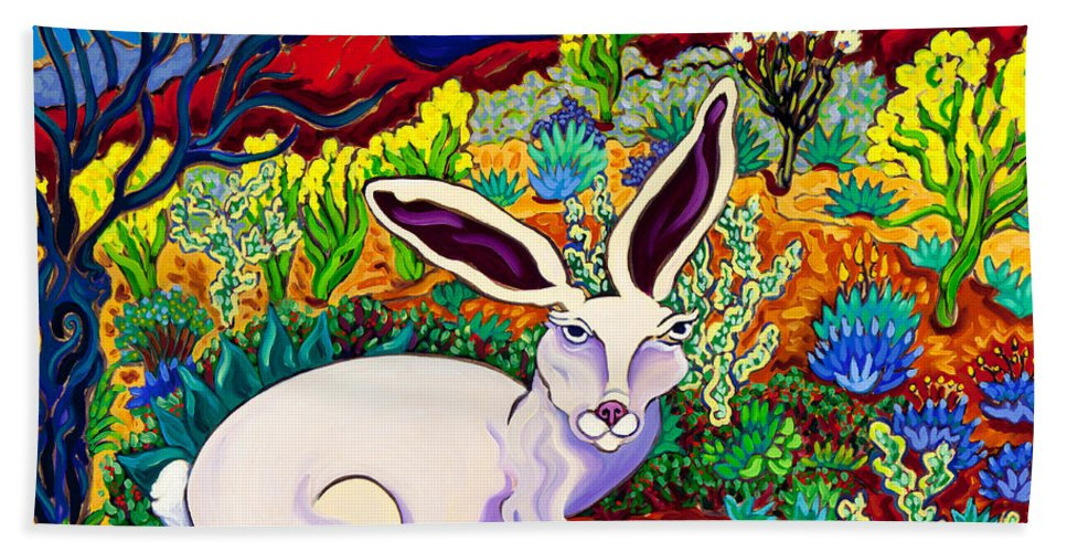 Jack Rabbit Hand Towel featuring the painting Traveler by Cathy Carey
