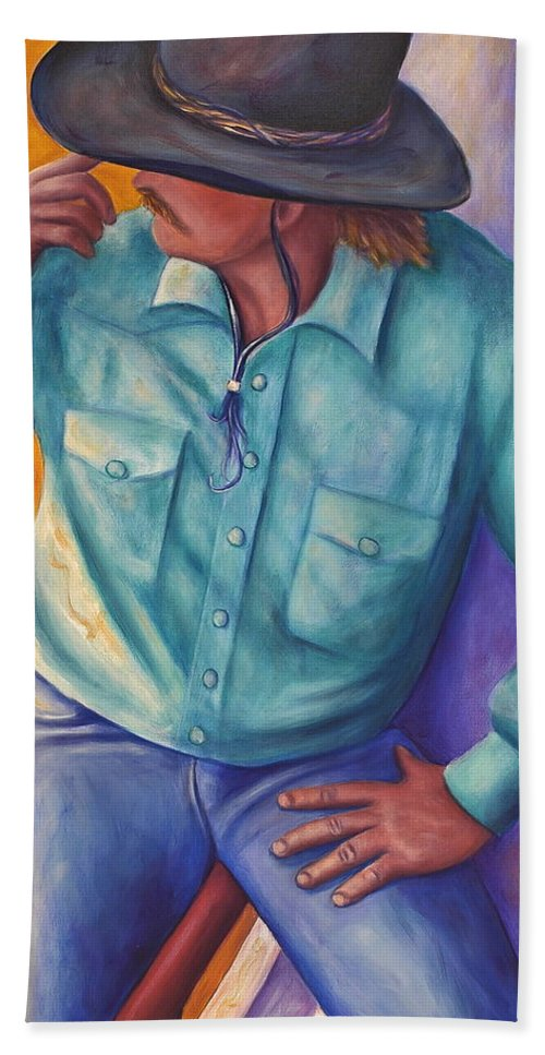 Cowboy Hand Towel featuring the painting Travelin Man by Shannon Grissom