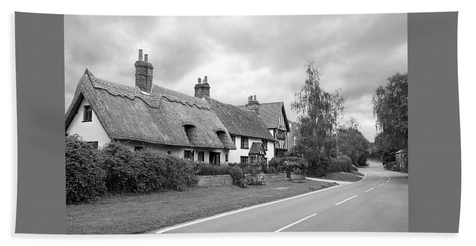 Black And White Landscape Hand Towel featuring the photograph Travellers Delight - English Country Road Black And White by Gill Billington