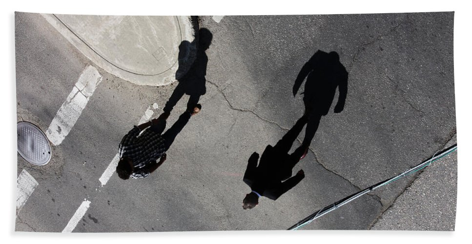 Street Photography Hand Towel featuring the photograph Travelling Grey by The Artist Project