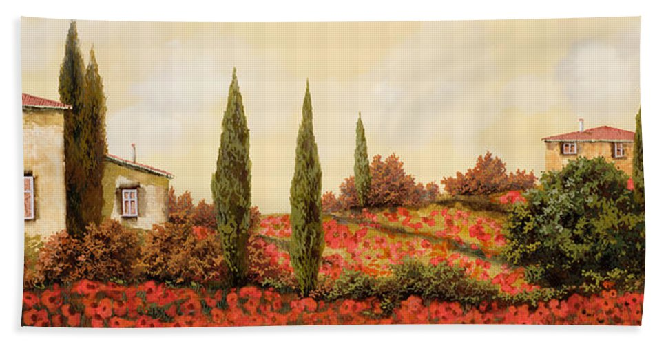Landscape Bath Towel featuring the painting Tre Case Tra I Papaveri Rossi by Guido Borelli