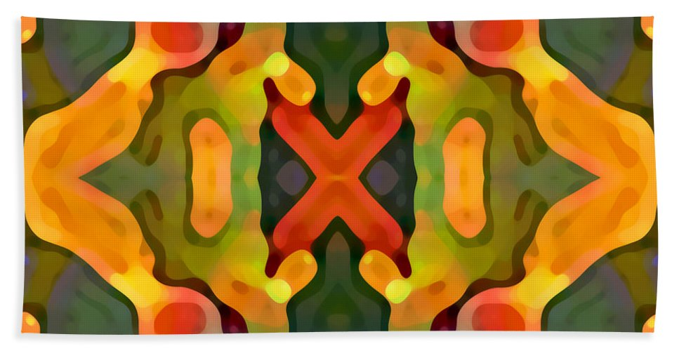 Abstract Bath Sheet featuring the painting Treasure by Amy Vangsgard