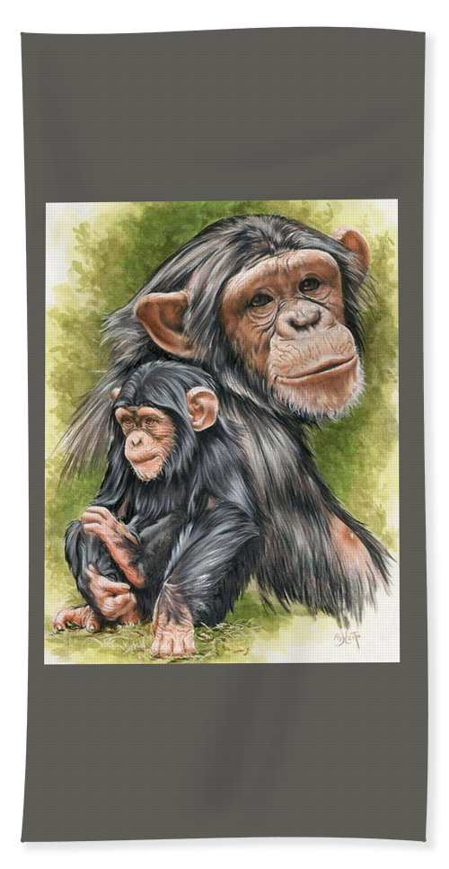 Chimpanzee Bath Sheet featuring the mixed media Treasure by Barbara Keith