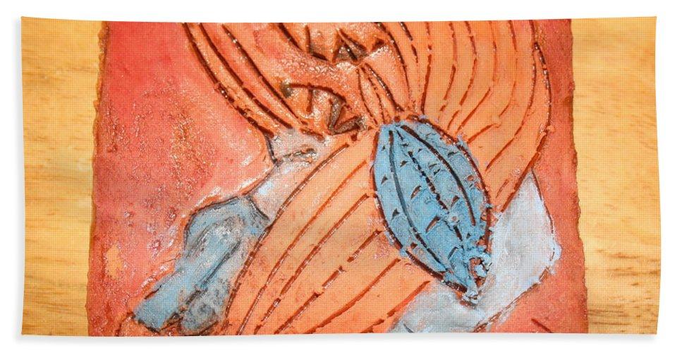 Jesus Hand Towel featuring the ceramic art Treasures - Tile by Gloria Ssali