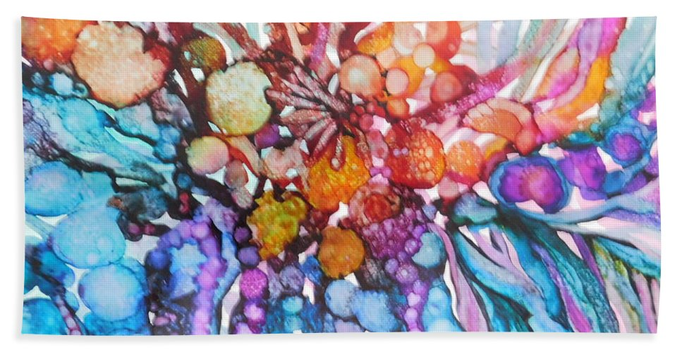 Abstract Hand Towel featuring the painting Treasures From Rainbow Reef by Joan Clear