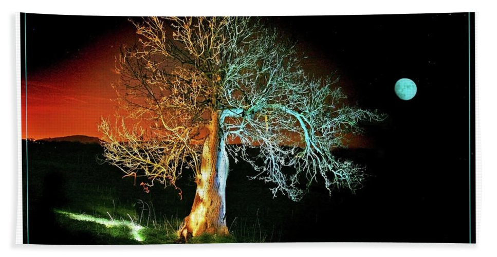 Tree Bath Sheet featuring the photograph Tree And Moon by Mal Bray