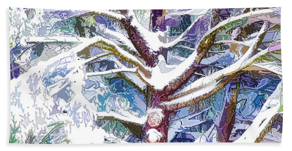 Tree Hand Towel featuring the painting Tree Branches Covered By Snow In Winter by Jeelan Clark