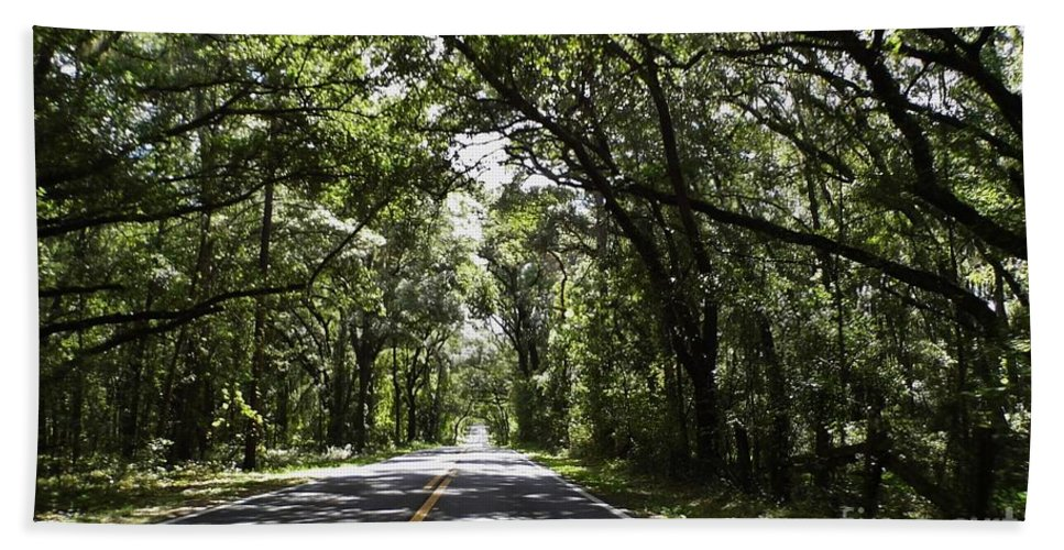 Shady Hand Towel featuring the photograph Tree Covered Road by D Hackett