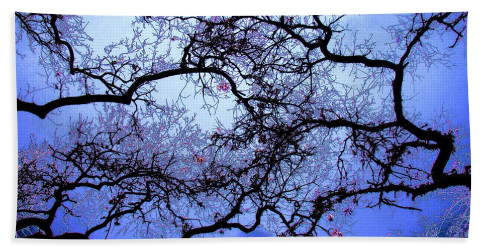 Scenic Bath Sheet featuring the photograph Tree Fantasy In Blue by Lee Santa