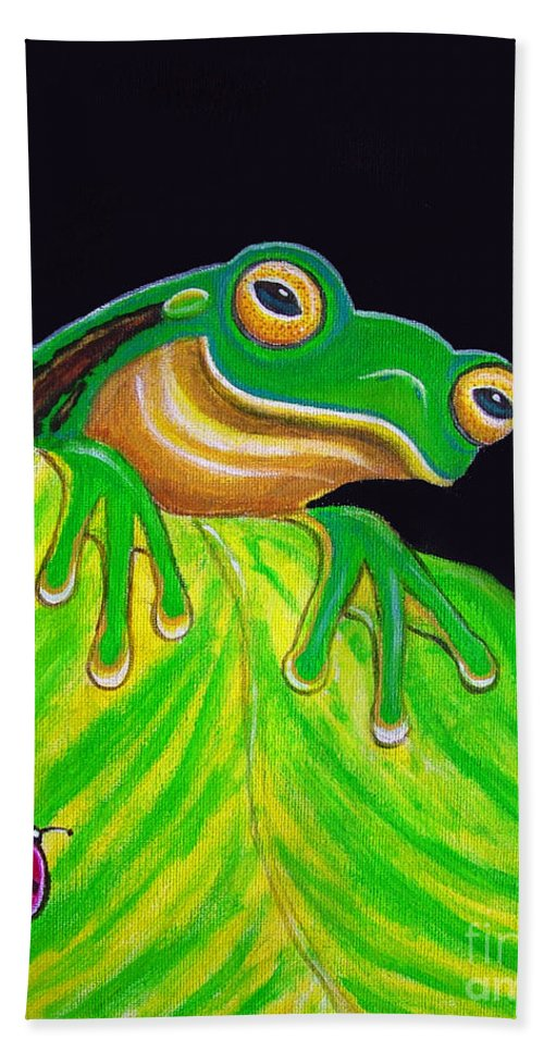 Tree Frog Hand Towel featuring the painting Tree Frog On A Leaf With Lady Bug by Nick Gustafson