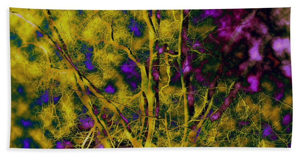 Abstract Bath Towel featuring the photograph Tree Glow by Linda Sannuti