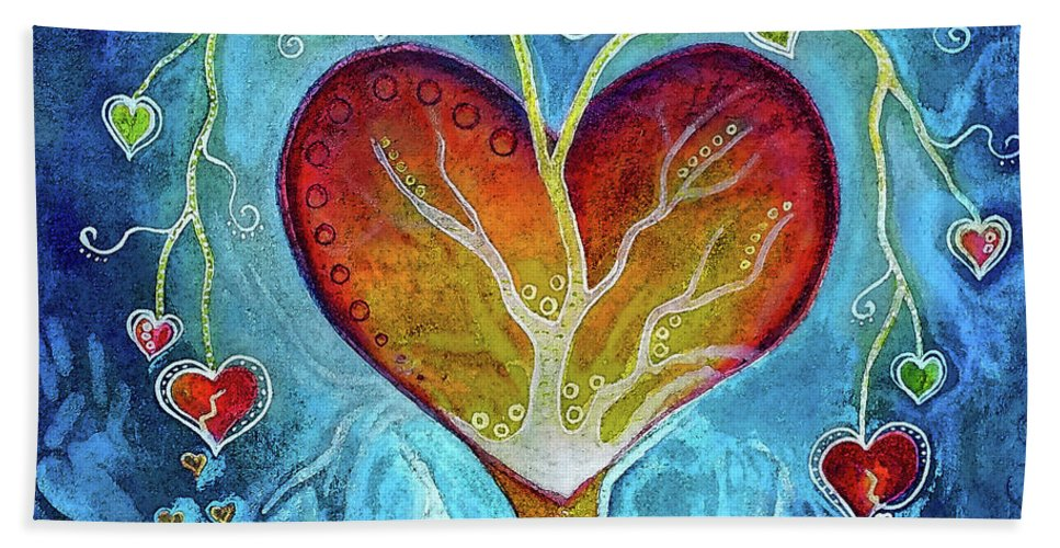 Heart Hand Towel featuring the painting Tree Of Hearts by Art By Ela