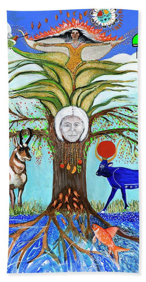 Tree Of Life With Animals And Corn Maiden Bath Sheet featuring the painting Tree Of Life #5 by Alicia Otis