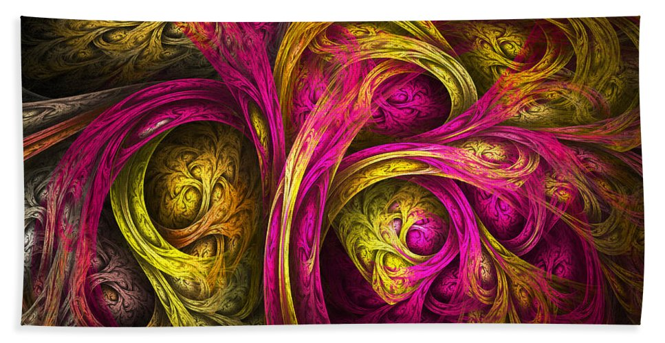 Fractal Hand Towel featuring the digital art Tree Of Life In Pink And Yellow by Tammy Wetzel