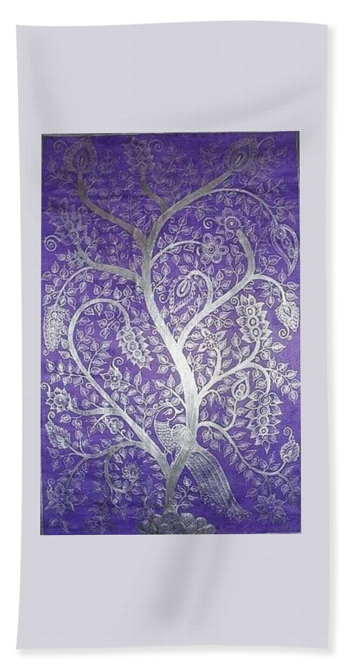 Peacock Hand Towel featuring the painting Tree Of Life by M Ande