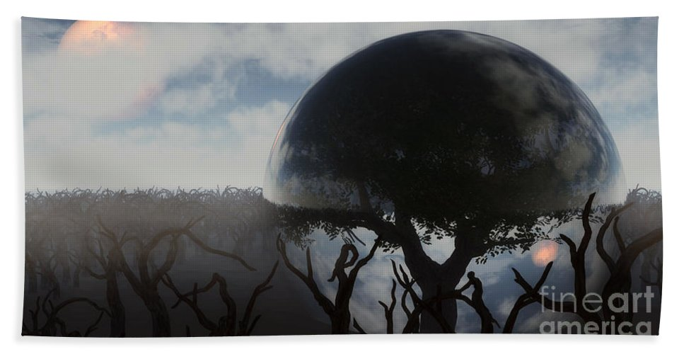 Life Bath Sheet featuring the digital art Tree Of Life by Richard Rizzo