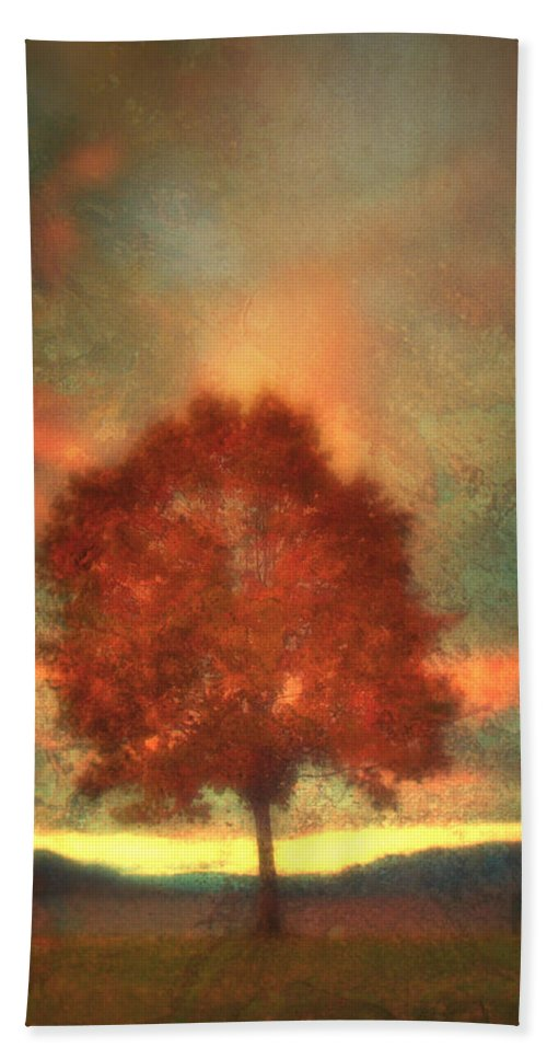 Tree Hand Towel featuring the photograph Tree On Fire by Tara Turner