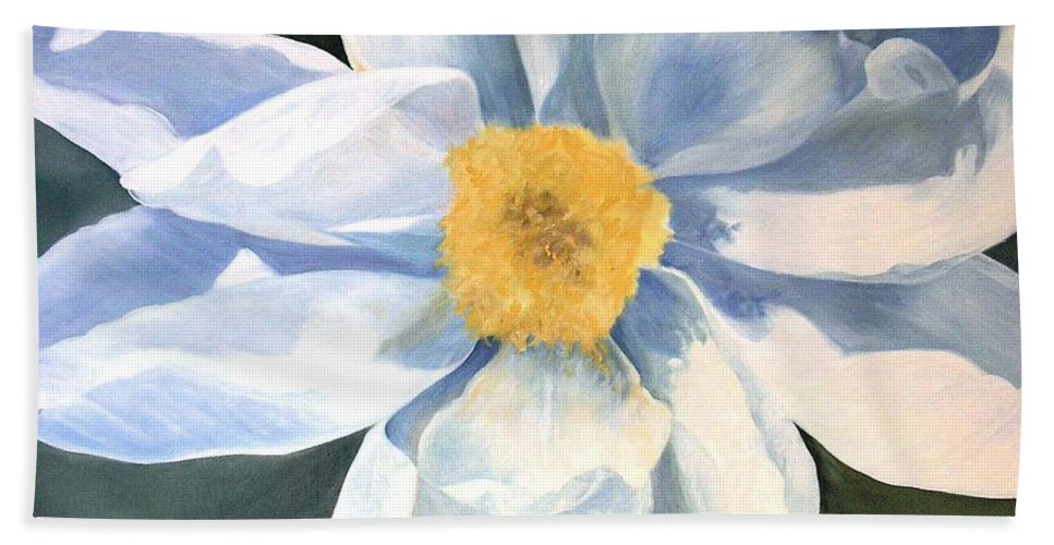 Botanical Garden Flower Hand Towel featuring the painting Tree Peony by Laurie Rohner