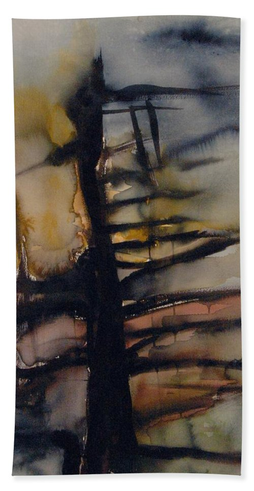 Tree Abstracted Original Watercolor Silhouette Open Branches Limbs Trees Bath Towel featuring the painting Tree Series Vi by Leila Atkinson