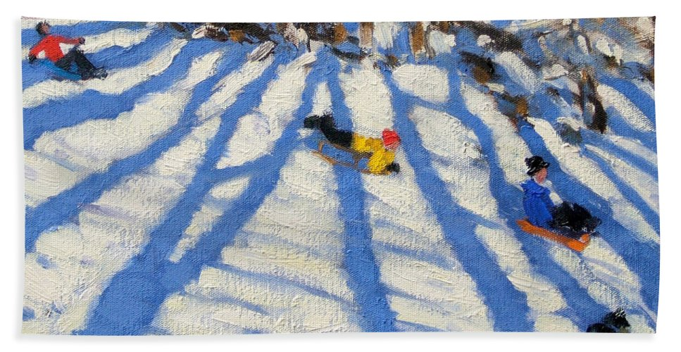 Sledging Bath Sheet featuring the painting Tree Shadows Morzine by Andrew Macara
