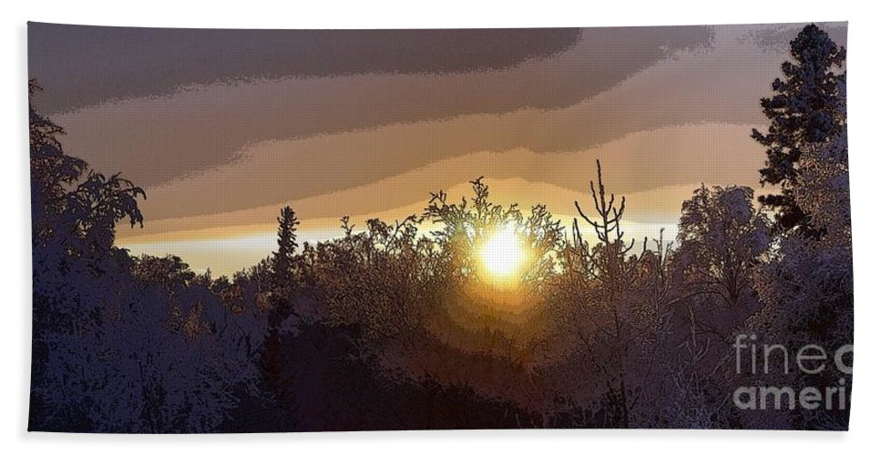 Winter Hand Towel featuring the photograph Tree Top Sunset 2 by Ron Bissett