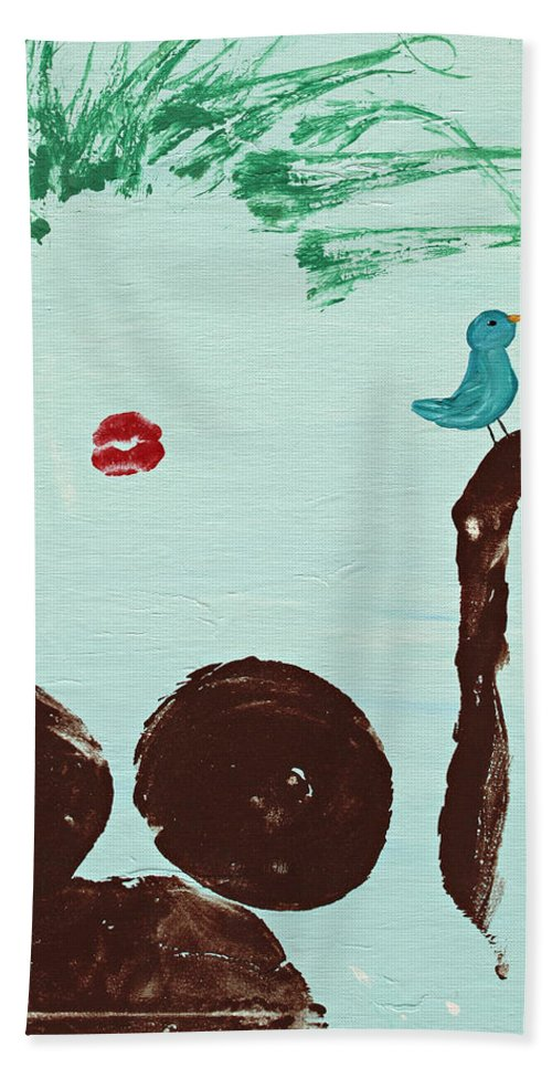 Body Prints Hand Towel featuring the painting Tree With Blue Birds by April Kasper