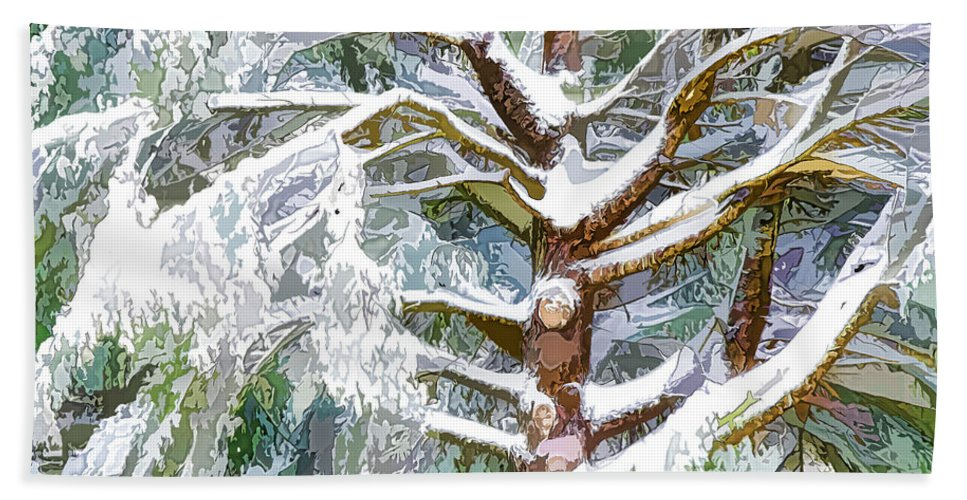 Brunch Hand Towel featuring the painting Tree With White Fluffy Snow by Jeelan Clark