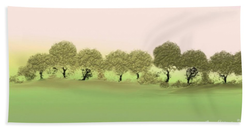 Tree Bath Towel featuring the painting Treeline by Gina Lee Manley